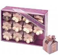Mini Pink Square Favour Boxes With Flowers (12)